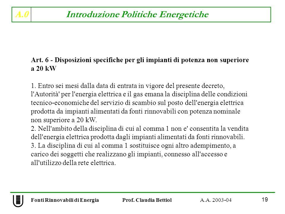A.0 Introduzione Politiche Energetiche 19 Fonti Rinnovabili di Energia Prof. Claudia Bettiol A.A. 2003-04 Art. 6 - Disposizioni specifiche per gli imp