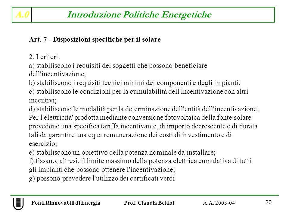 A.0 Introduzione Politiche Energetiche 20 Fonti Rinnovabili di Energia Prof. Claudia Bettiol A.A. 2003-04 Art. 7 - Disposizioni specifiche per il sola