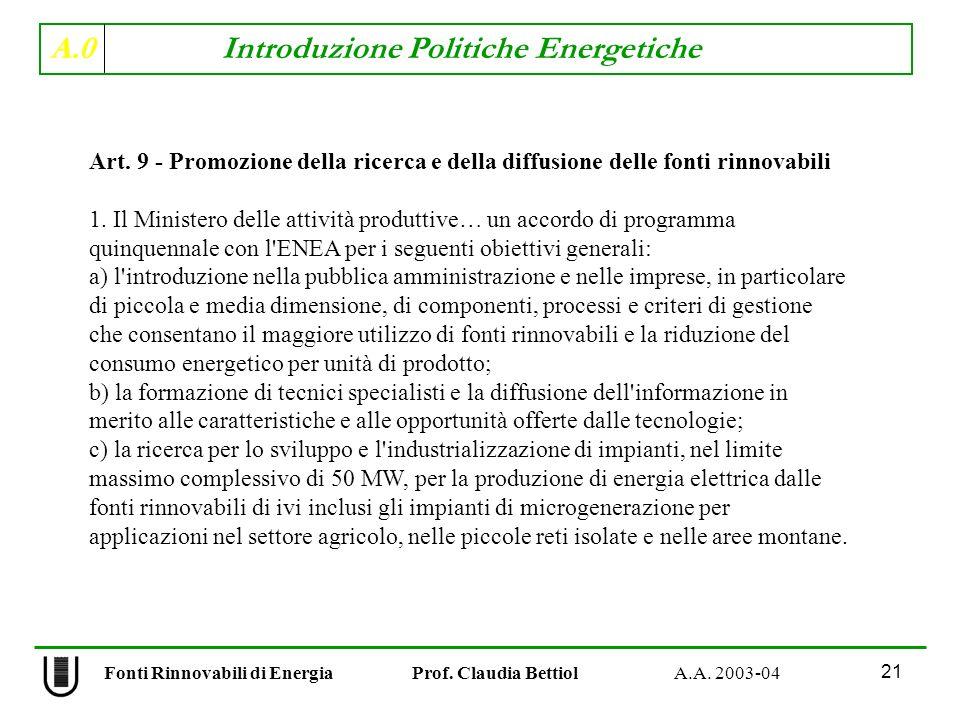 A.0 Introduzione Politiche Energetiche 21 Fonti Rinnovabili di Energia Prof. Claudia Bettiol A.A. 2003-04 Art. 9 - Promozione della ricerca e della di