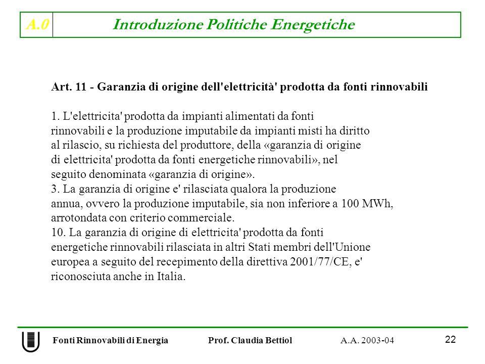 A.0 Introduzione Politiche Energetiche 22 Fonti Rinnovabili di Energia Prof. Claudia Bettiol A.A. 2003-04 Art. 11 - Garanzia di origine dell'elettrici