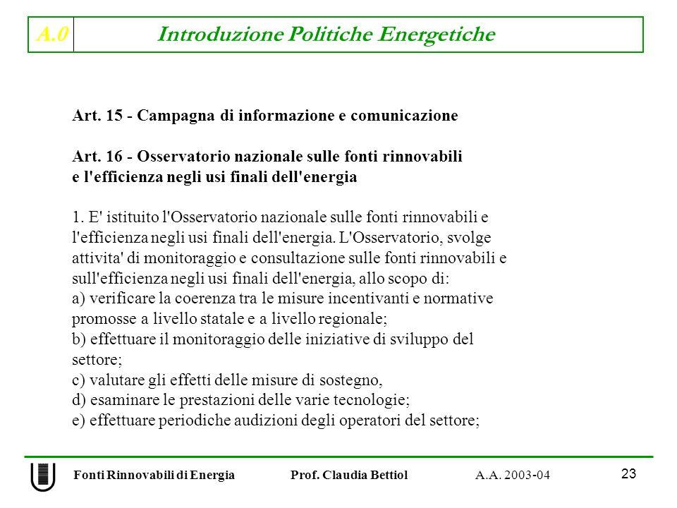A.0 Introduzione Politiche Energetiche 23 Fonti Rinnovabili di Energia Prof. Claudia Bettiol A.A. 2003-04 Art. 15 - Campagna di informazione e comunic