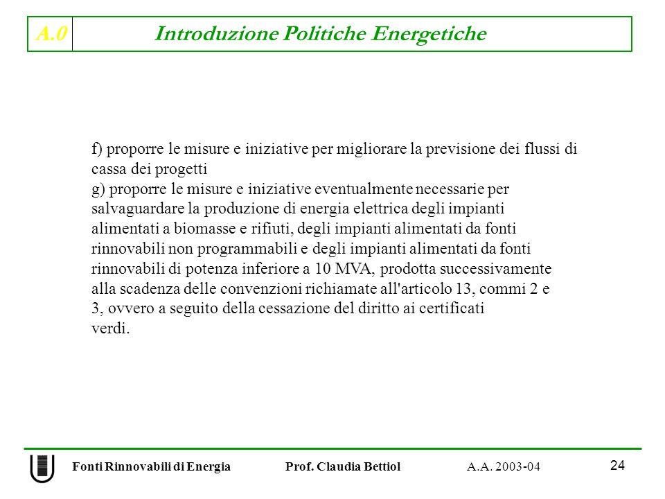 A.0 Introduzione Politiche Energetiche 24 Fonti Rinnovabili di Energia Prof. Claudia Bettiol A.A. 2003-04 f) proporre le misure e iniziative per migli