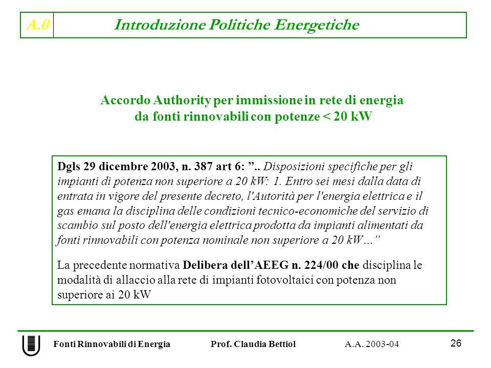 A.0 Introduzione Politiche Energetiche 26 Fonti Rinnovabili di Energia Prof. Claudia Bettiol A.A. 2003-04 Dgls 29 dicembre 2003, n. 387 art 6:.. Dispo
