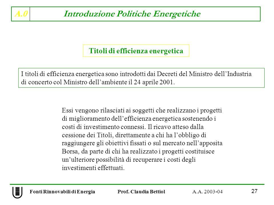 A.0 Introduzione Politiche Energetiche 27 Fonti Rinnovabili di Energia Prof. Claudia Bettiol A.A. 2003-04 Titoli di efficienza energetica I titoli di
