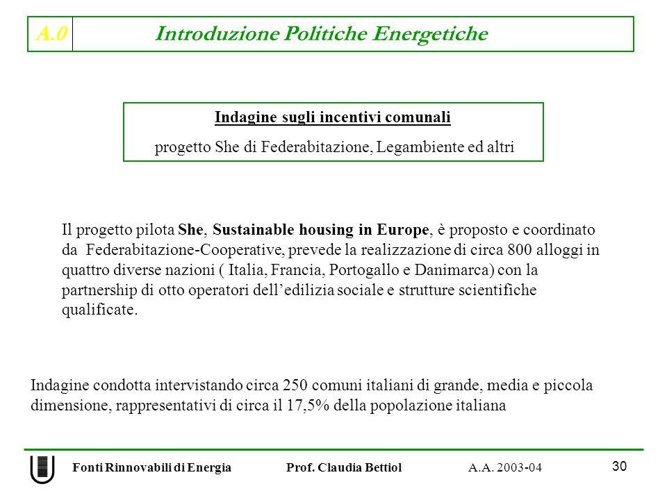 A.0 Introduzione Politiche Energetiche 30 Fonti Rinnovabili di Energia Prof. Claudia Bettiol A.A. 2003-04 Indagine sugli incentivi comunali progetto S
