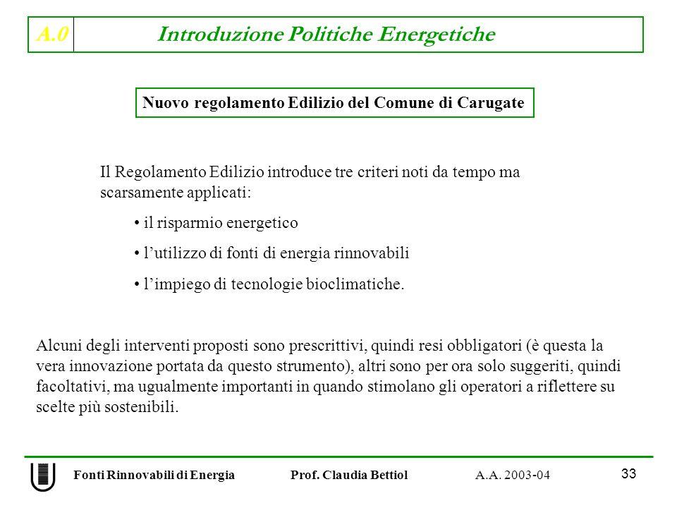 A.0 Introduzione Politiche Energetiche 33 Fonti Rinnovabili di Energia Prof. Claudia Bettiol A.A. 2003-04 Il Regolamento Edilizio introduce tre criter