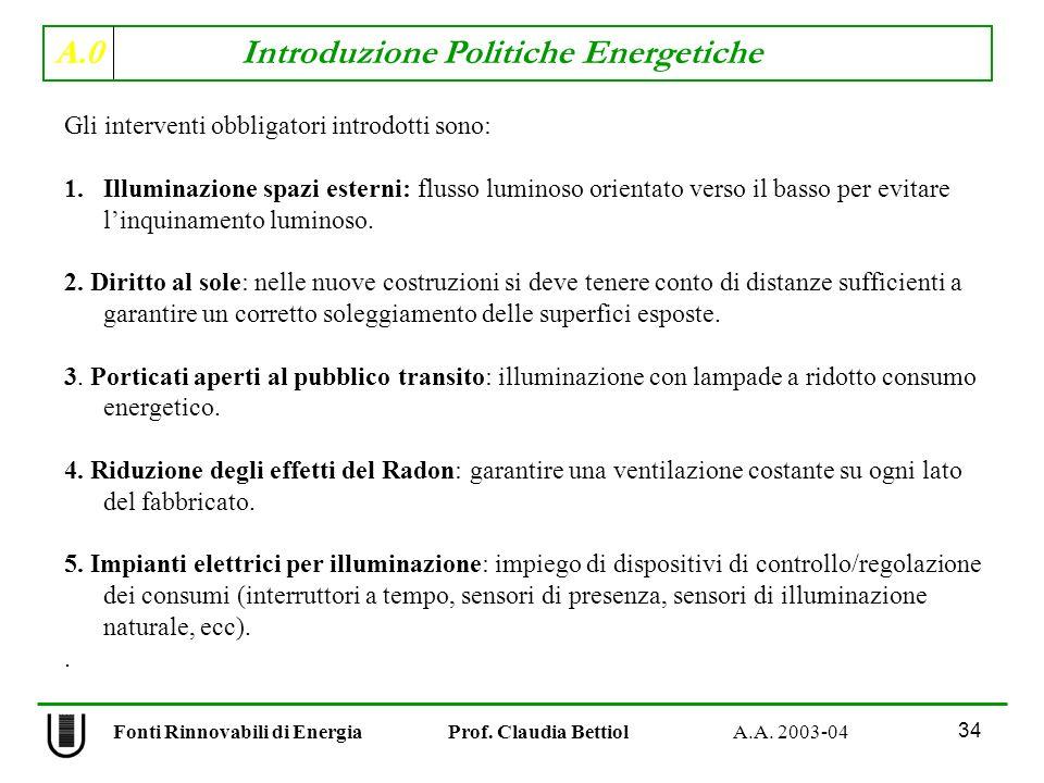 A.0 Introduzione Politiche Energetiche 34 Fonti Rinnovabili di Energia Prof. Claudia Bettiol A.A. 2003-04 Gli interventi obbligatori introdotti sono: