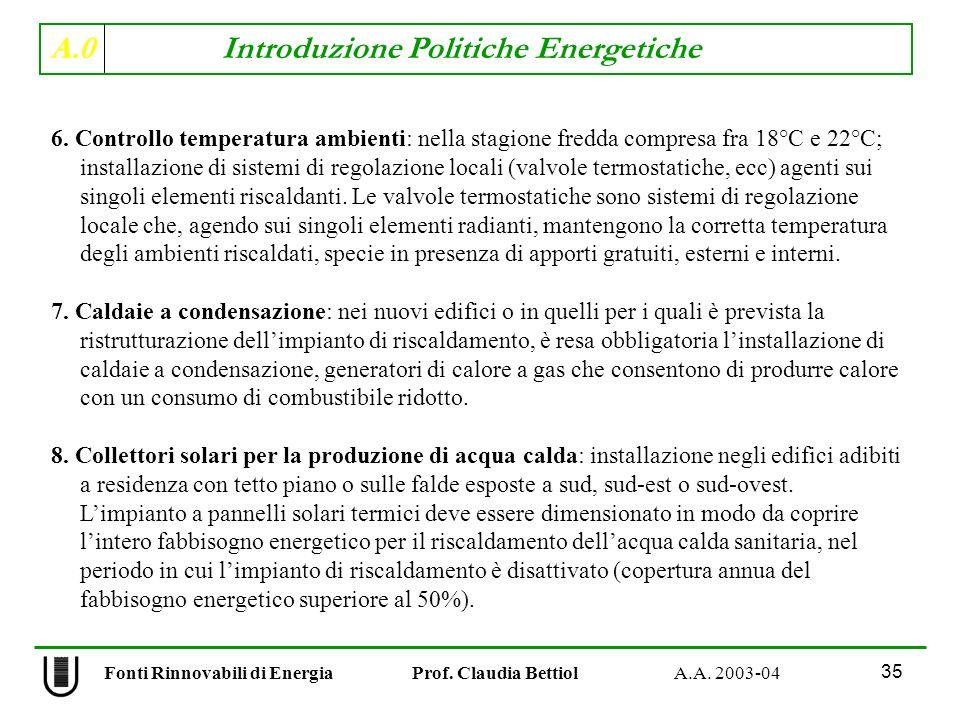 A.0 Introduzione Politiche Energetiche 35 Fonti Rinnovabili di Energia Prof. Claudia Bettiol A.A. 2003-04 6. Controllo temperatura ambienti: nella sta