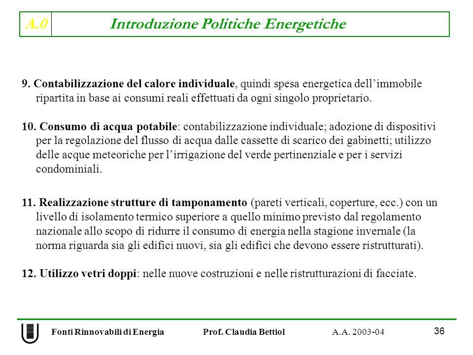 A.0 Introduzione Politiche Energetiche 36 Fonti Rinnovabili di Energia Prof. Claudia Bettiol A.A. 2003-04 9. Contabilizzazione del calore individuale,