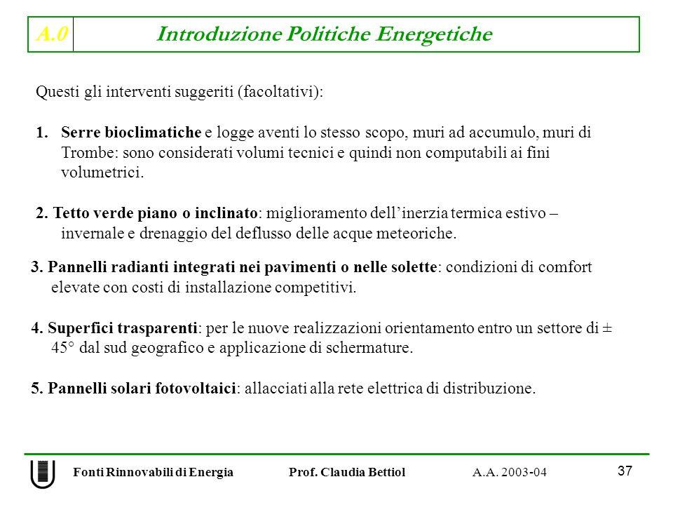 A.0 Introduzione Politiche Energetiche 37 Fonti Rinnovabili di Energia Prof. Claudia Bettiol A.A. 2003-04 Questi gli interventi suggeriti (facoltativi