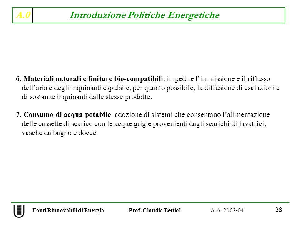 A.0 Introduzione Politiche Energetiche 38 Fonti Rinnovabili di Energia Prof. Claudia Bettiol A.A. 2003-04 6. Materiali naturali e finiture bio-compati