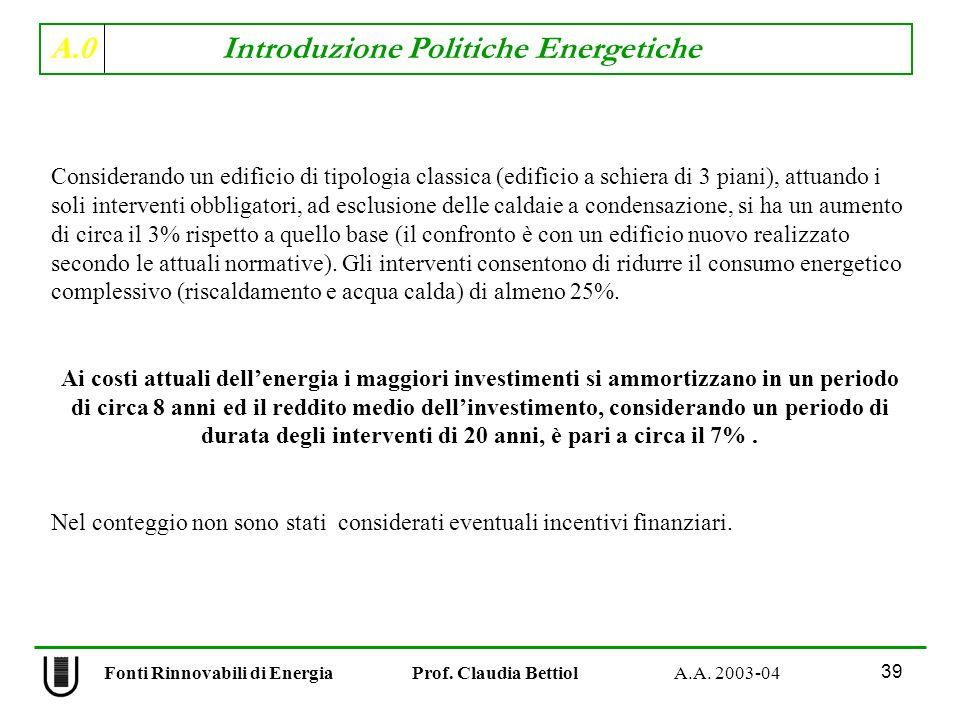 A.0 Introduzione Politiche Energetiche 39 Fonti Rinnovabili di Energia Prof. Claudia Bettiol A.A. 2003-04 Considerando un edificio di tipologia classi