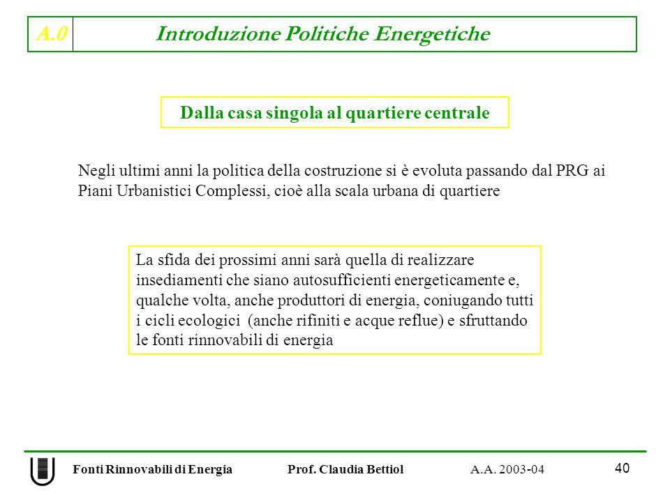 A.0 Introduzione Politiche Energetiche 40 Fonti Rinnovabili di Energia Prof. Claudia Bettiol A.A. 2003-04 Dalla casa singola al quartiere centrale Neg
