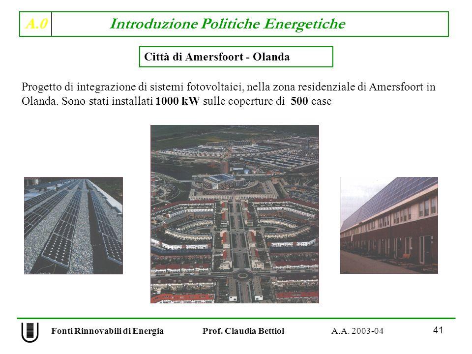 A.0 Introduzione Politiche Energetiche 41 Fonti Rinnovabili di Energia Prof. Claudia Bettiol A.A. 2003-04 Città di Amersfoort - Olanda Progetto di int