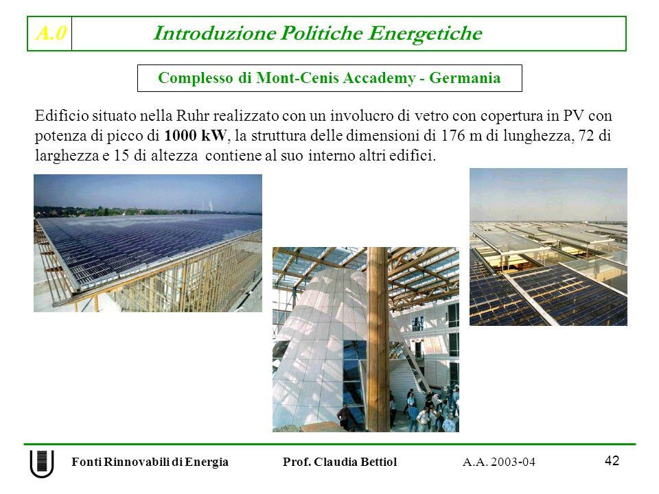 A.0 Introduzione Politiche Energetiche 42 Fonti Rinnovabili di Energia Prof. Claudia Bettiol A.A. 2003-04 Complesso di Mont-Cenis Accademy - Germania