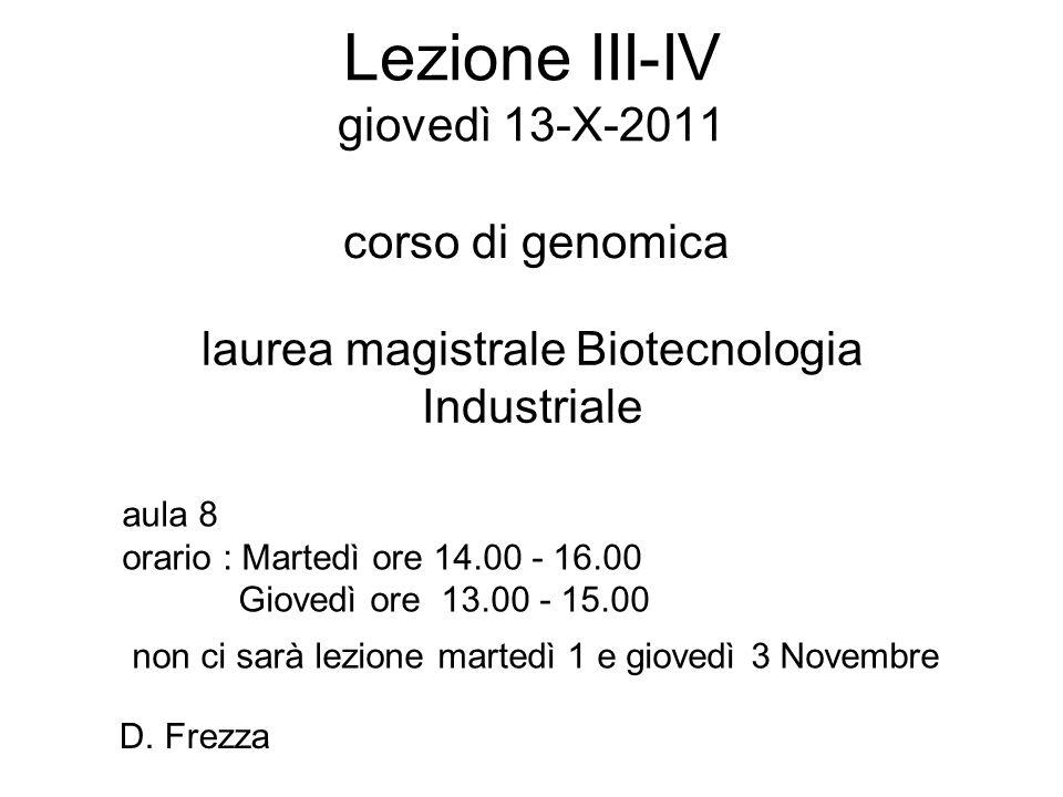 Lezione III-IV giovedì 13-X-2011 corso di genomica laurea magistrale Biotecnologia Industriale aula 8 orario : Martedì ore 14.00 - 16.00 Giovedì ore 1