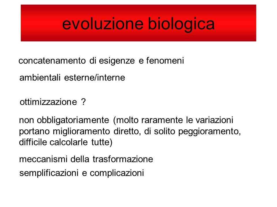 evoluzione biologica concatenamento di esigenze e fenomeni ambientali esterne/interne ottimizzazione ? non obbligatoriamente (molto raramente le varia