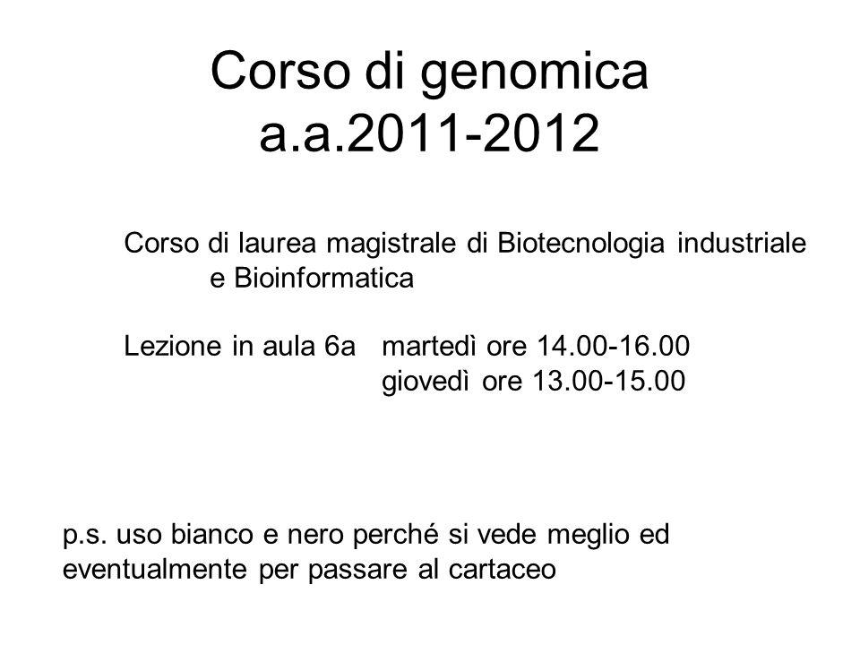 Corso di genomica a.a.2011-2012 Corso di laurea magistrale di Biotecnologia industriale e Bioinformatica Lezione in aula 6a martedì ore 14.00-16.00 gi