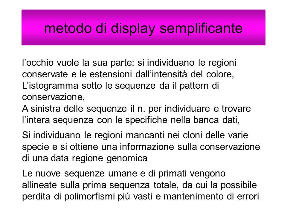 metodo di display semplificante locchio vuole la sua parte: si individuano le regioni conservate e le estensioni dallintensità del colore, Listogramma