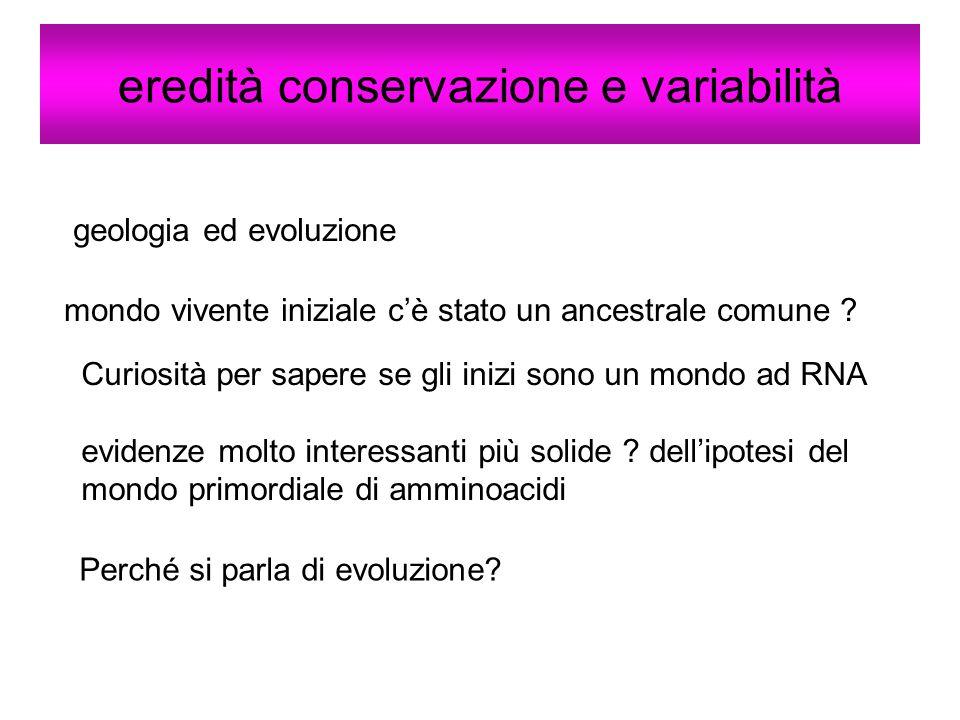eredità conservazione e variabilità geologia ed evoluzione mondo vivente iniziale cè stato un ancestrale comune ? Curiosità per sapere se gli inizi so