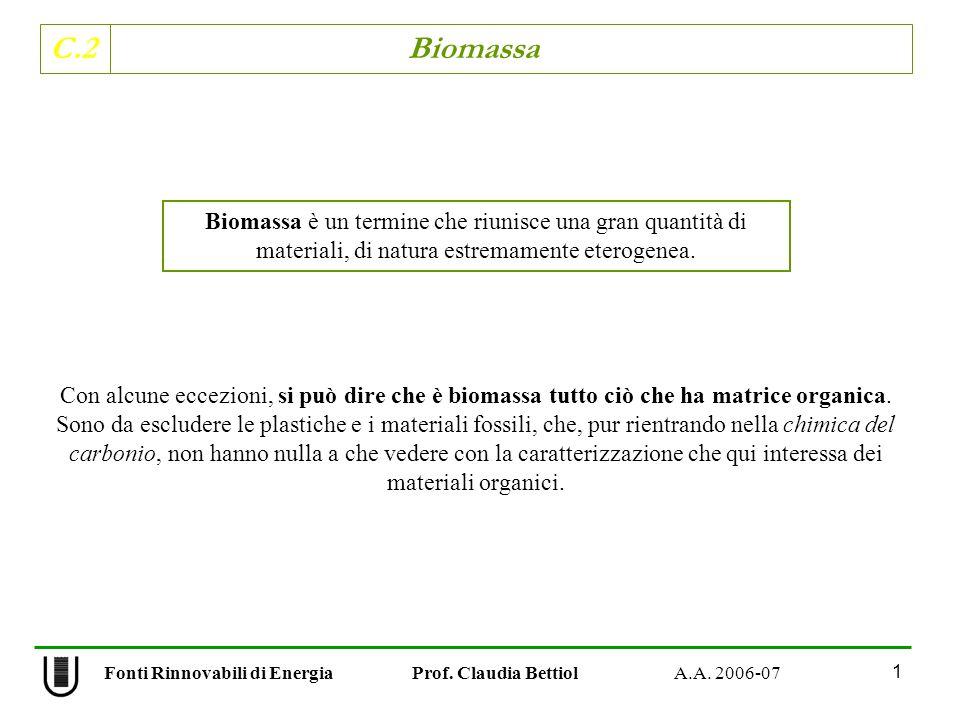C.2 Biomassa 1 Fonti Rinnovabili di Energia Prof. Claudia Bettiol A.A. 2006-07 Con alcune eccezioni, si può dire che è biomassa tutto ciò che ha matri