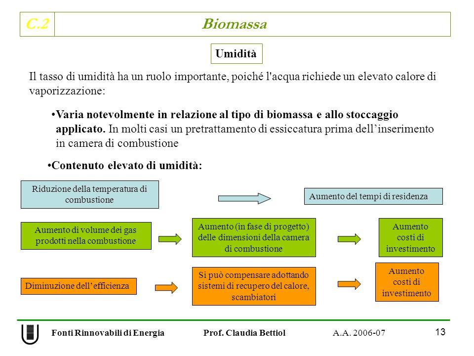 C.2 Biomassa 13 Fonti Rinnovabili di Energia Prof. Claudia Bettiol A.A. 2006-07 Varia notevolmente in relazione al tipo di biomassa e allo stoccaggio
