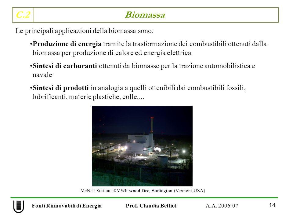 C.2 Biomassa 14 Fonti Rinnovabili di Energia Prof. Claudia Bettiol A.A. 2006-07 Le principali applicazioni della biomassa sono: Produzione di energia