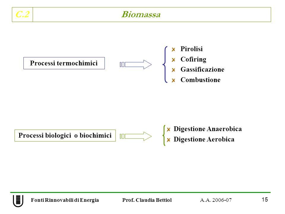 C.2 Biomassa 15 Fonti Rinnovabili di Energia Prof. Claudia Bettiol A.A. 2006-07 Pirolisi Cofiring Gassificazione Combustione Digestione Anaerobica Dig