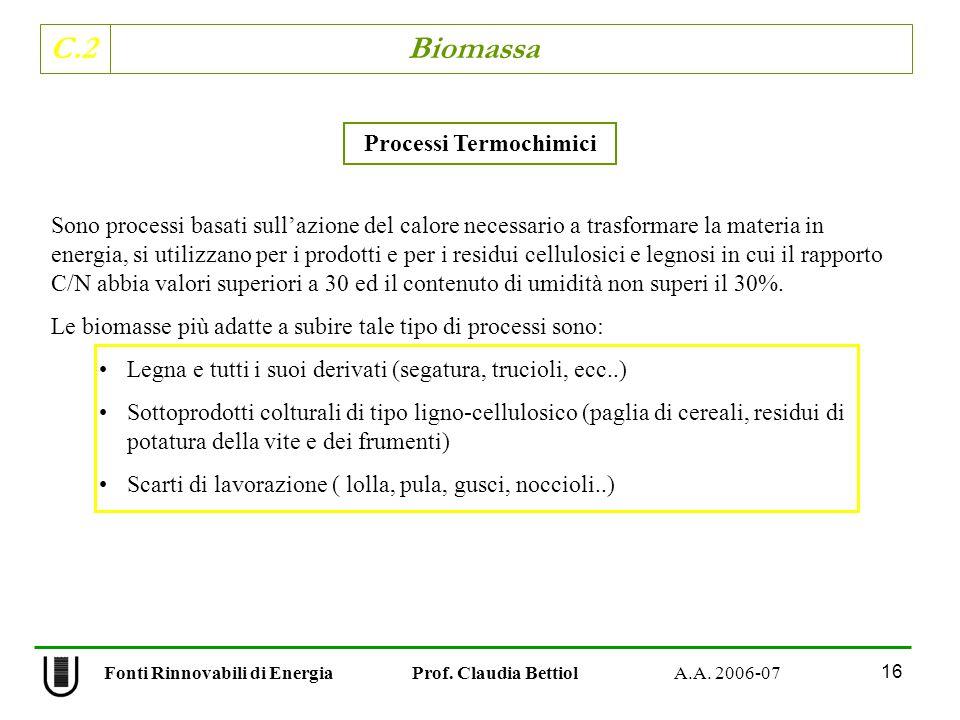 C.2 Biomassa 16 Fonti Rinnovabili di Energia Prof. Claudia Bettiol A.A. 2006-07 Processi Termochimici Sono processi basati sullazione del calore neces