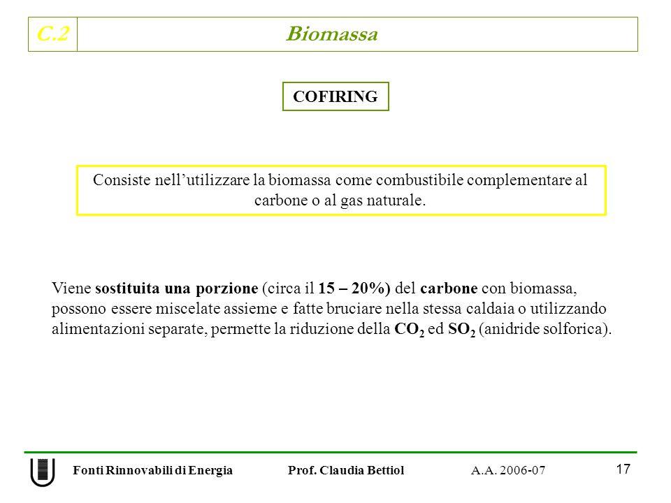 C.2 Biomassa 17 Fonti Rinnovabili di Energia Prof. Claudia Bettiol A.A. 2006-07 COFIRING Viene sostituita una porzione (circa il 15 – 20%) del carbone