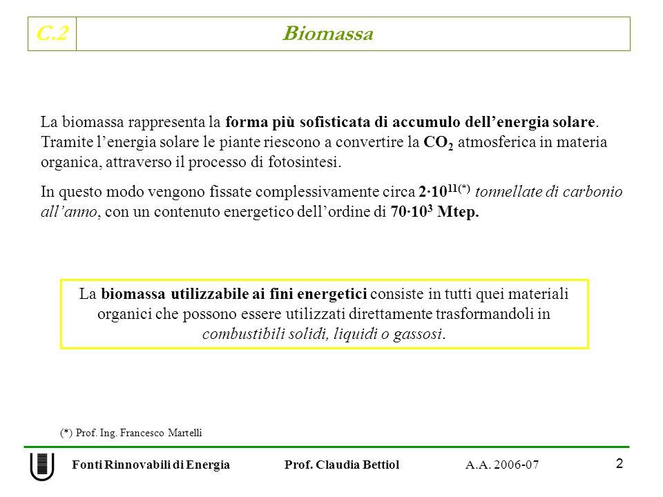 C.2 Biomassa 2 Fonti Rinnovabili di Energia Prof. Claudia Bettiol A.A. 2006-07 La biomassa rappresenta la forma più sofisticata di accumulo dellenergi