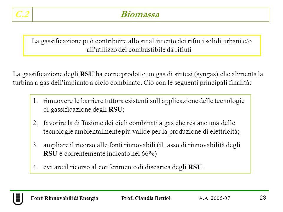 C.2 Biomassa 23 Fonti Rinnovabili di Energia Prof. Claudia Bettiol A.A. 2006-07 La gassificazione degli RSU ha come prodotto un gas di sintesi (syngas