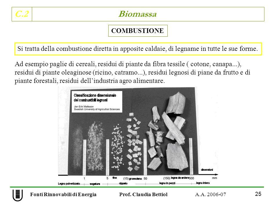 C.2 Biomassa 25 Fonti Rinnovabili di Energia Prof. Claudia Bettiol A.A. 2006-07 COMBUSTIONE Ad esempio paglie di cereali, residui di piante da fibra t