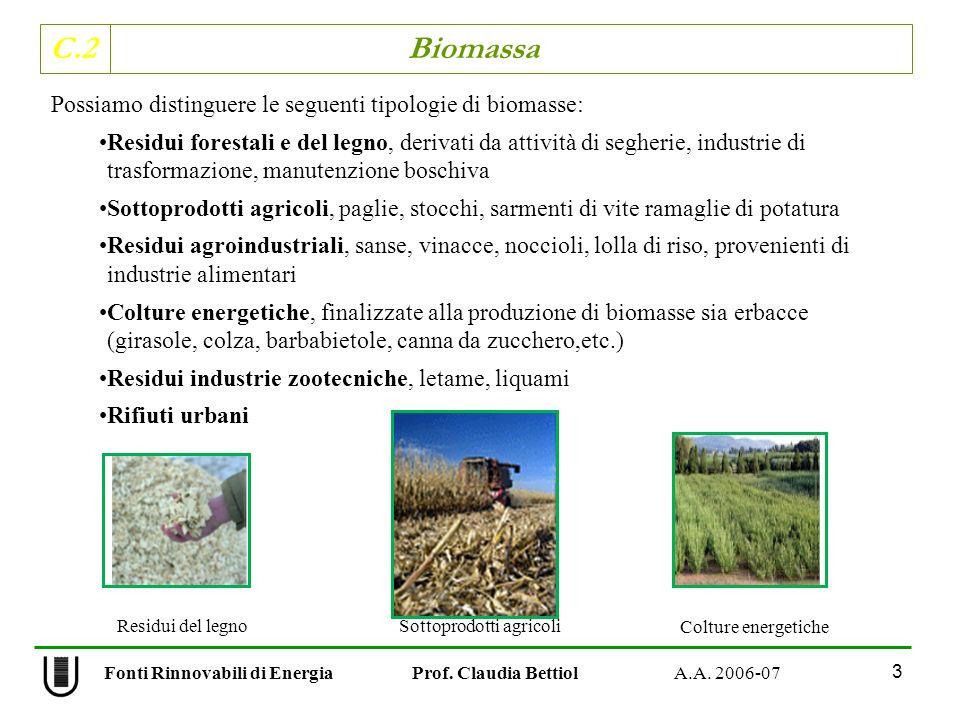 C.2 Biomassa 3 Fonti Rinnovabili di Energia Prof. Claudia Bettiol A.A. 2006-07 Possiamo distinguere le seguenti tipologie di biomasse: Residui foresta