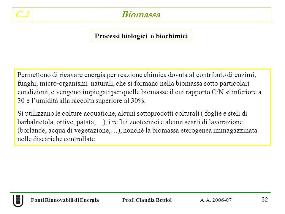 C.2 Biomassa 32 Fonti Rinnovabili di Energia Prof. Claudia Bettiol A.A. 2006-07 Processi biologici o biochimici Permettono di ricavare energia per rea