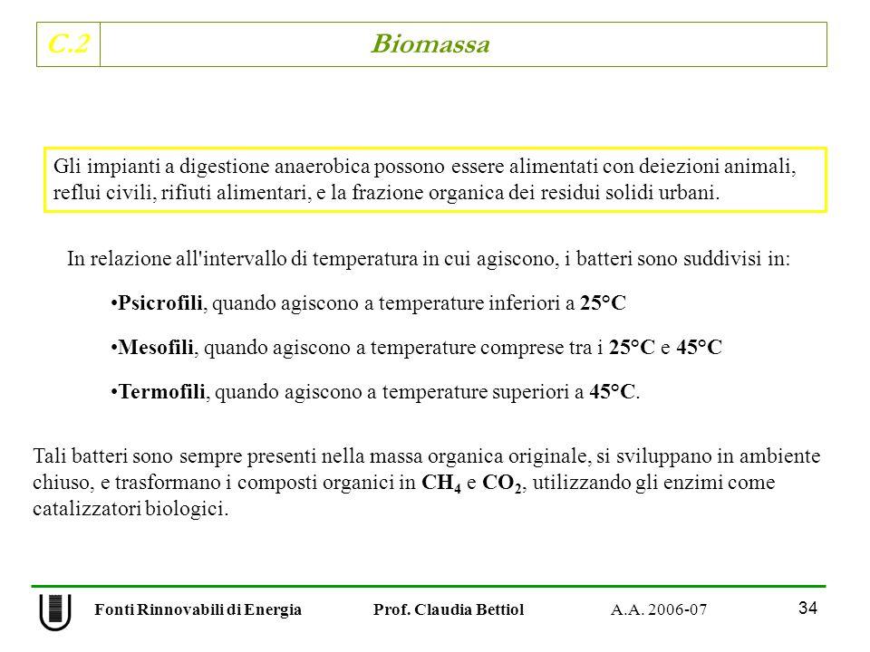 C.2 Biomassa 34 Fonti Rinnovabili di Energia Prof. Claudia Bettiol A.A. 2006-07 In relazione all'intervallo di temperatura in cui agiscono, i batteri