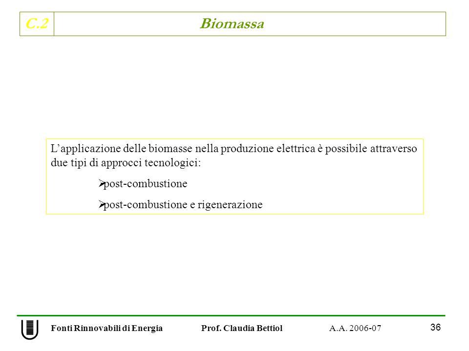 C.2 Biomassa 36 Fonti Rinnovabili di Energia Prof. Claudia Bettiol A.A. 2006-07 Lapplicazione delle biomasse nella produzione elettrica è possibile at