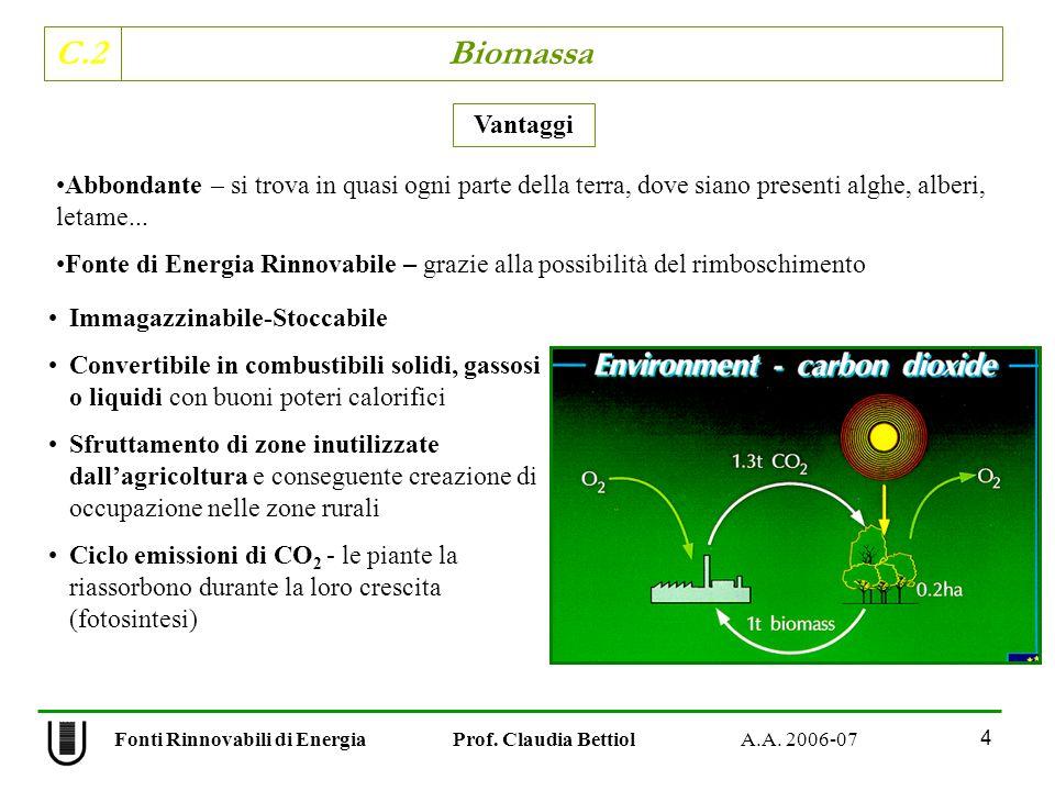 C.2 Biomassa 4 Fonti Rinnovabili di Energia Prof. Claudia Bettiol A.A. 2006-07 Immagazzinabile-Stoccabile Convertibile in combustibili solidi, gassosi