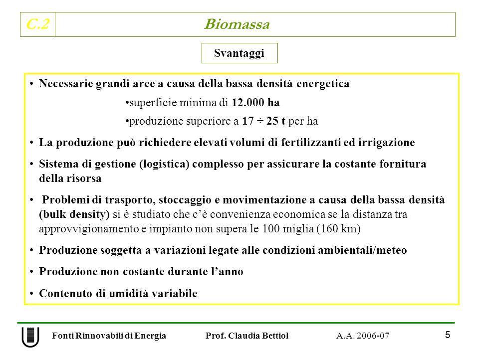 C.2 Biomassa 5 Fonti Rinnovabili di Energia Prof. Claudia Bettiol A.A. 2006-07 Necessarie grandi aree a causa della bassa densità energetica superfici