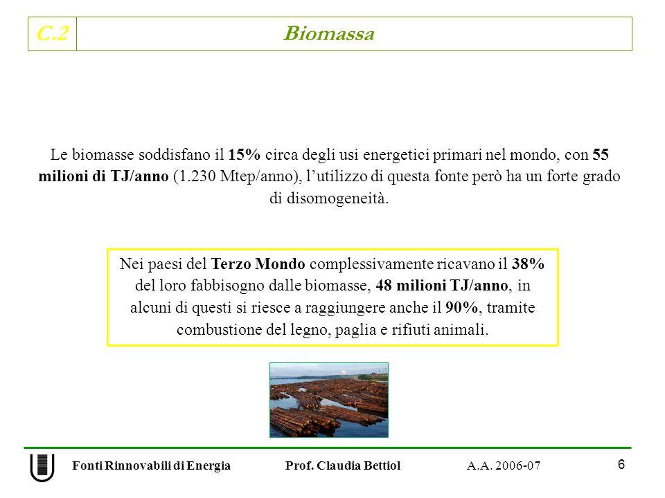C.2 Biomassa 6 Fonti Rinnovabili di Energia Prof. Claudia Bettiol A.A. 2006-07 Le biomasse soddisfano il 15% circa degli usi energetici primari nel mo