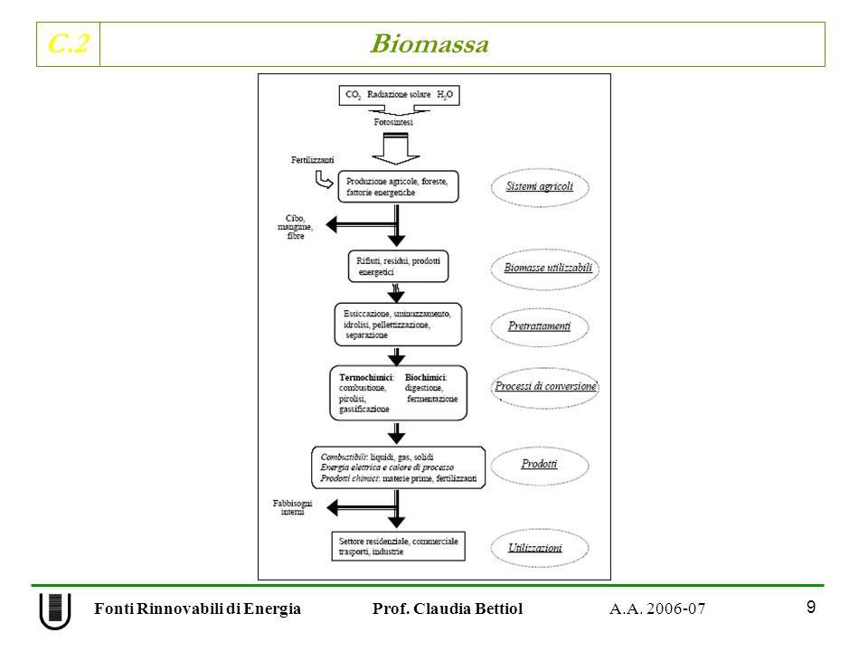 C.2 Biomassa 9 Fonti Rinnovabili di Energia Prof. Claudia Bettiol A.A. 2006-07