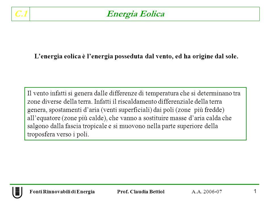 C.1 Energia Eolica 1 Fonti Rinnovabili di Energia Prof.