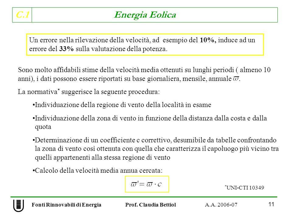C.1 Energia Eolica 11 Un errore nella rilevazione della velocità, ad esempio del 10%, induce ad un errore del 33% sulla valutazione della potenza.