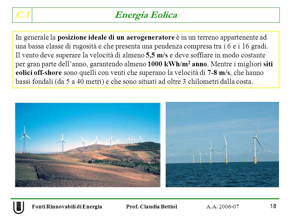 C.1 Energia Eolica 18 In generale la posizione ideale di un aerogeneratore è in un terreno appartenente ad una bassa classe di rugosità e che presenta una pendenza compresa tra i 6 e i 16 gradi.