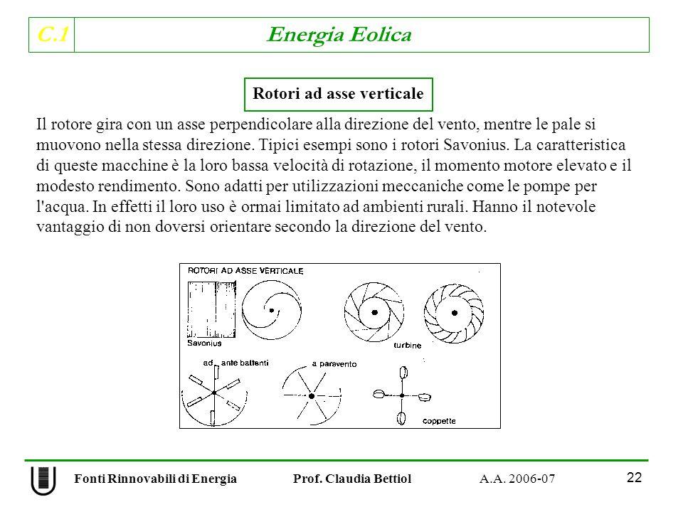 C.1 Energia Eolica 22 Rotori ad asse verticale Il rotore gira con un asse perpendicolare alla direzione del vento, mentre le pale si muovono nella stessa direzione.