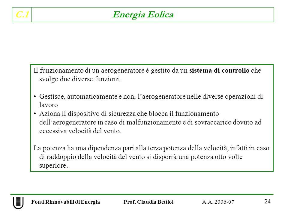 C.1 Energia Eolica 24 Il funzionamento di un aerogeneratore è gestito da un sistema di controllo che svolge due diverse funzioni.