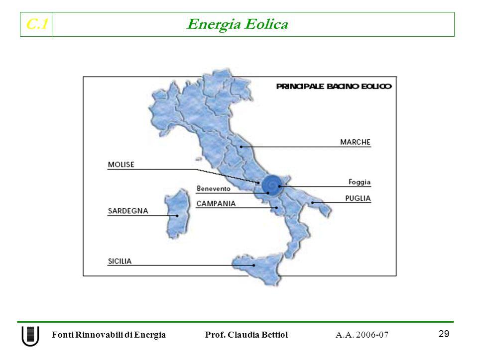 C.1 Energia Eolica 29 Fonti Rinnovabili di Energia Prof. Claudia Bettiol A.A. 2006-07