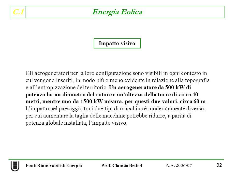 C.1 Energia Eolica 32 Gli aerogeneratori per la loro configurazione sono visibili in ogni contesto in cui vengono inseriti, in modo più o meno evidente in relazione alla topografia e allantropizzazione del territorio.