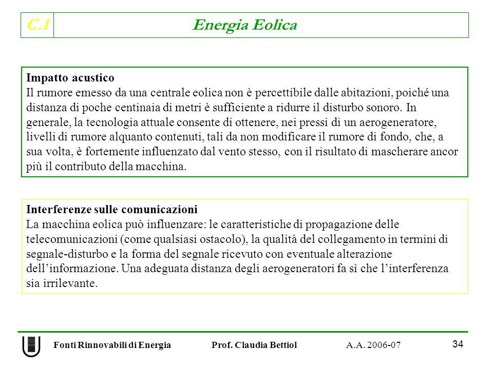 C.1 Energia Eolica 34 Impatto acustico Il rumore emesso da una centrale eolica non è percettibile dalle abitazioni, poiché una distanza di poche centinaia di metri è sufficiente a ridurre il disturbo sonoro.