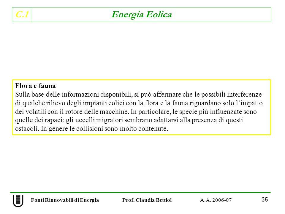 C.1 Energia Eolica 35 Flora e fauna Sulla base delle informazioni disponibili, si può affermare che le possibili interferenze di qualche rilievo degli impianti eolici con la flora e la fauna riguardano solo limpatto dei volatili con il rotore delle macchine.